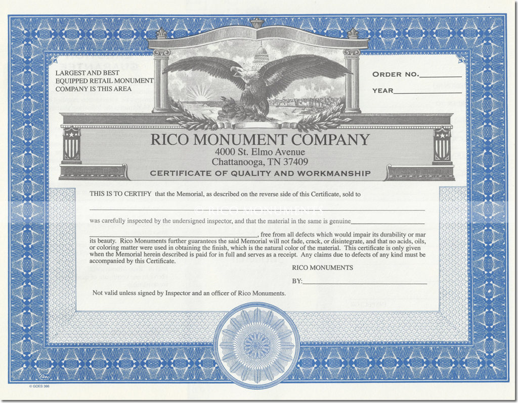 rico monuments - certificate of quality